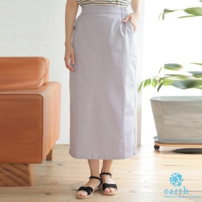 earth music 腰際鬆緊素面/格紋窄身長裙