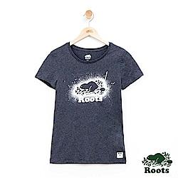 女裝Roots 潑墨海狸短袖T恤-灰色
