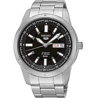 SEIKO精工5號21石盾牌機械腕錶(SNKN13J1)-黑