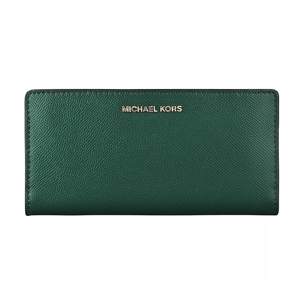 MK MICHAEL KORS 金字LOGO牛皮9卡扣式長夾(大/賽車綠)