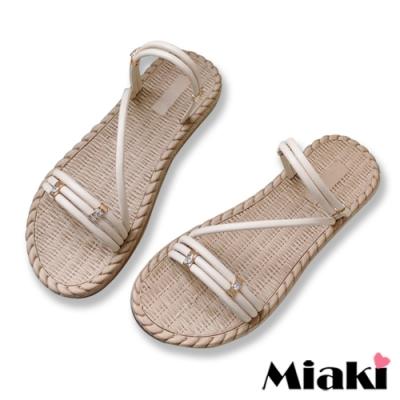 Miaki-涼鞋南洋編織2穿平底涼拖-米