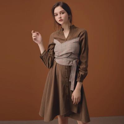 AIR SPACE LADY 格紋綁帶造型絨布襯衫洋裝(咖啡)