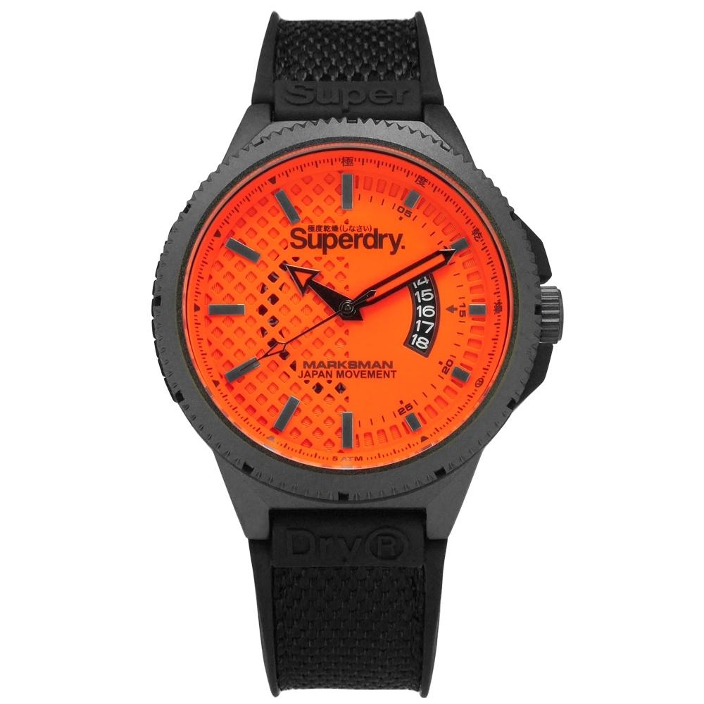 Superdry 極度乾燥 復古 軍事風潮 日本機芯 尼龍矽膠手錶-橘x灰框x黑/45mm