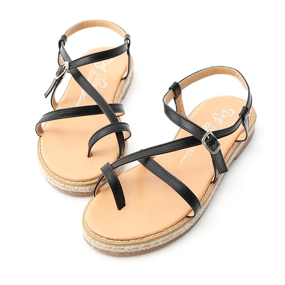 D+AF 自在夏日.交叉設計草編平底涼鞋*黑