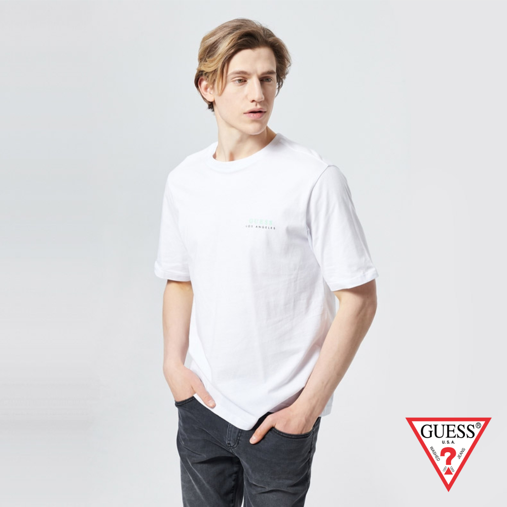 GUESS-男裝-前後草寫LOGO純棉短T,T恤-白 原價1390