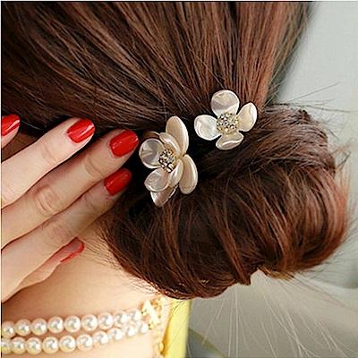 梨花HaNA 韓國高貴印象貝殼飾花卉髮圈