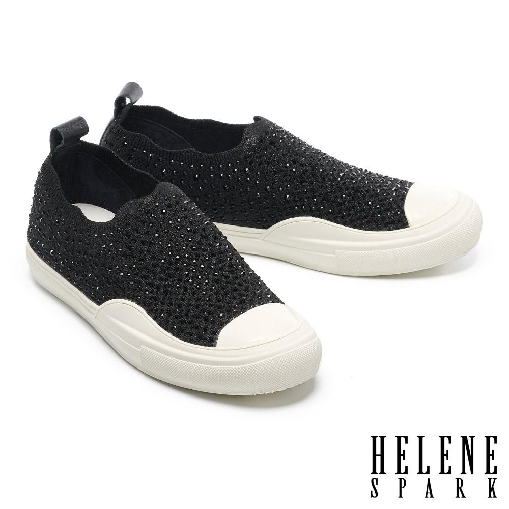 休閒鞋 HELENE SPARK 時尚閃耀晶鑽彈力飛織布厚底休閒鞋-黑