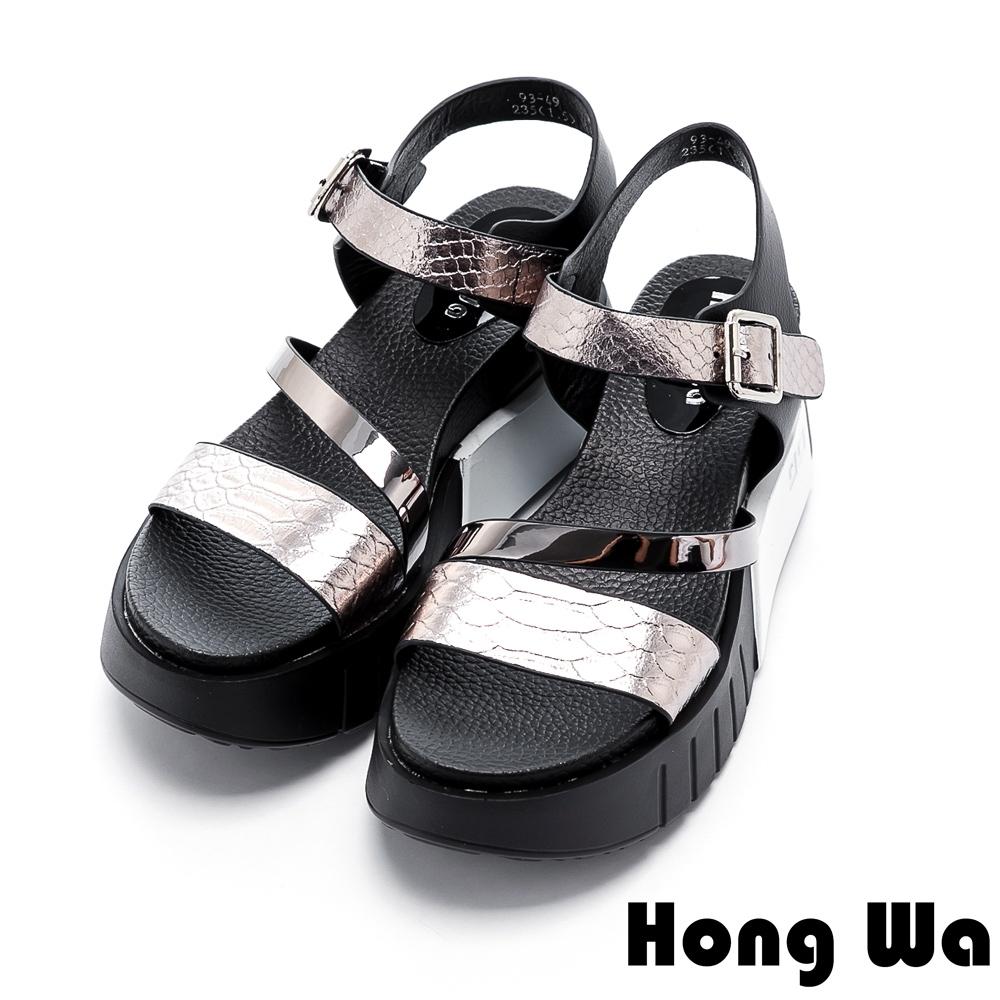 Hong Wa 潮流金屬爆裂牛皮飾扣厚底涼鞋 - 銀