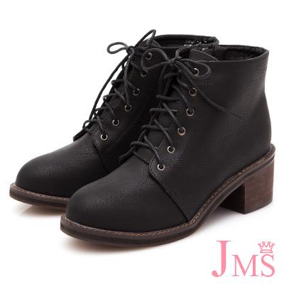 JMS-學院風復古造型綁帶側拉鍊短靴-黑色