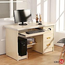 學生書桌 木紋桌 LOGIS簡約附主機架三抽1.2M電腦書桌 多用途 租屋族