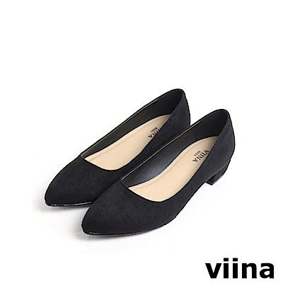 viina Basic 素面絨布跟鞋 - 黑