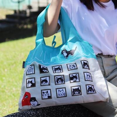 日本Prairie Dog 設計包/環保袋/購物袋/手提袋 - 黑白貓公寓