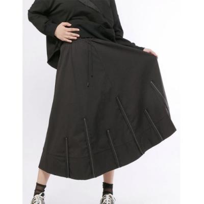 設計所在Style-暗黑系時尚休閒寬鬆顯瘦A字裙中長裙