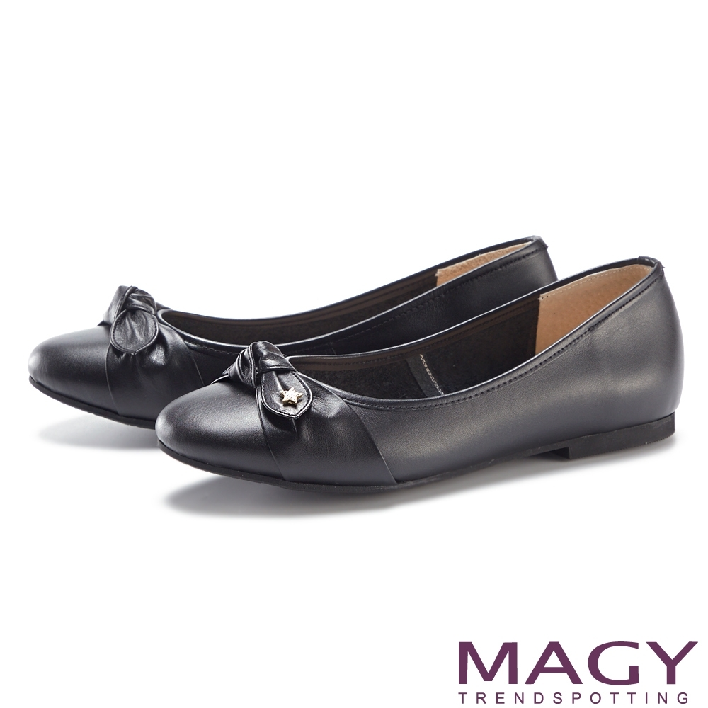 MAGY 星星鑽飾蝴蝶結真皮 女 平底鞋 黑色