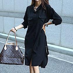 正韓 附綁帶立領長版長袖襯衫外套 (黑色)-N.C21