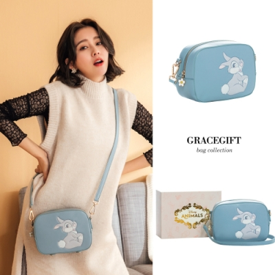 Disney collection by gracegift-桑普兔壓紋圖案方包 藍