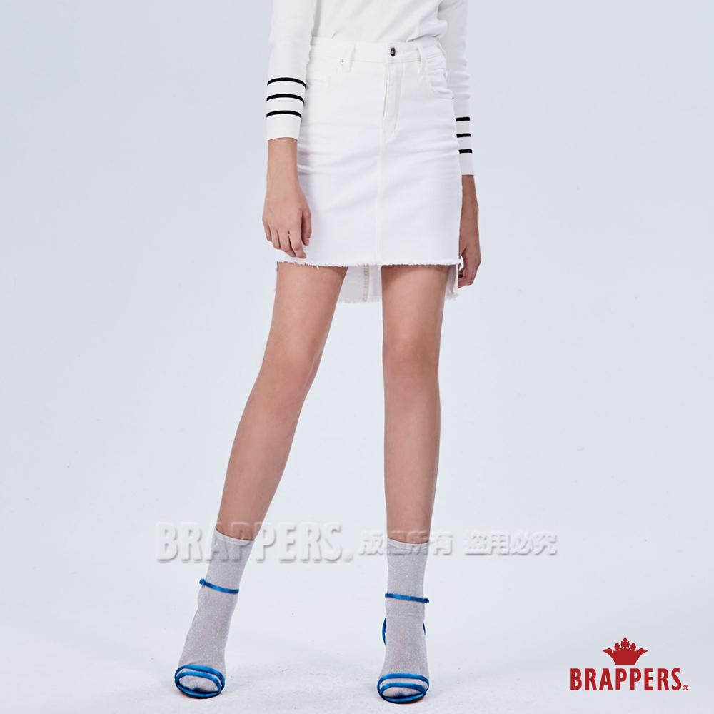 BRAPPERS 女款 LC-Cargo系列-彈性前短後長不收邊膝上裙-白
