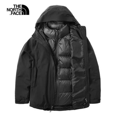 The North Face北面女款黑色防水保暖三合一外套|46I7KX7