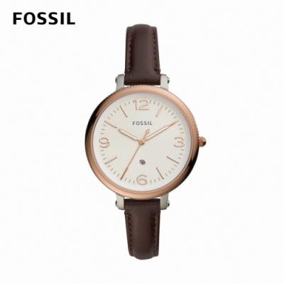 FOSSIL Monroe 婉約氣質女錶 棕色真皮皮革錶帶 38MM ES4922