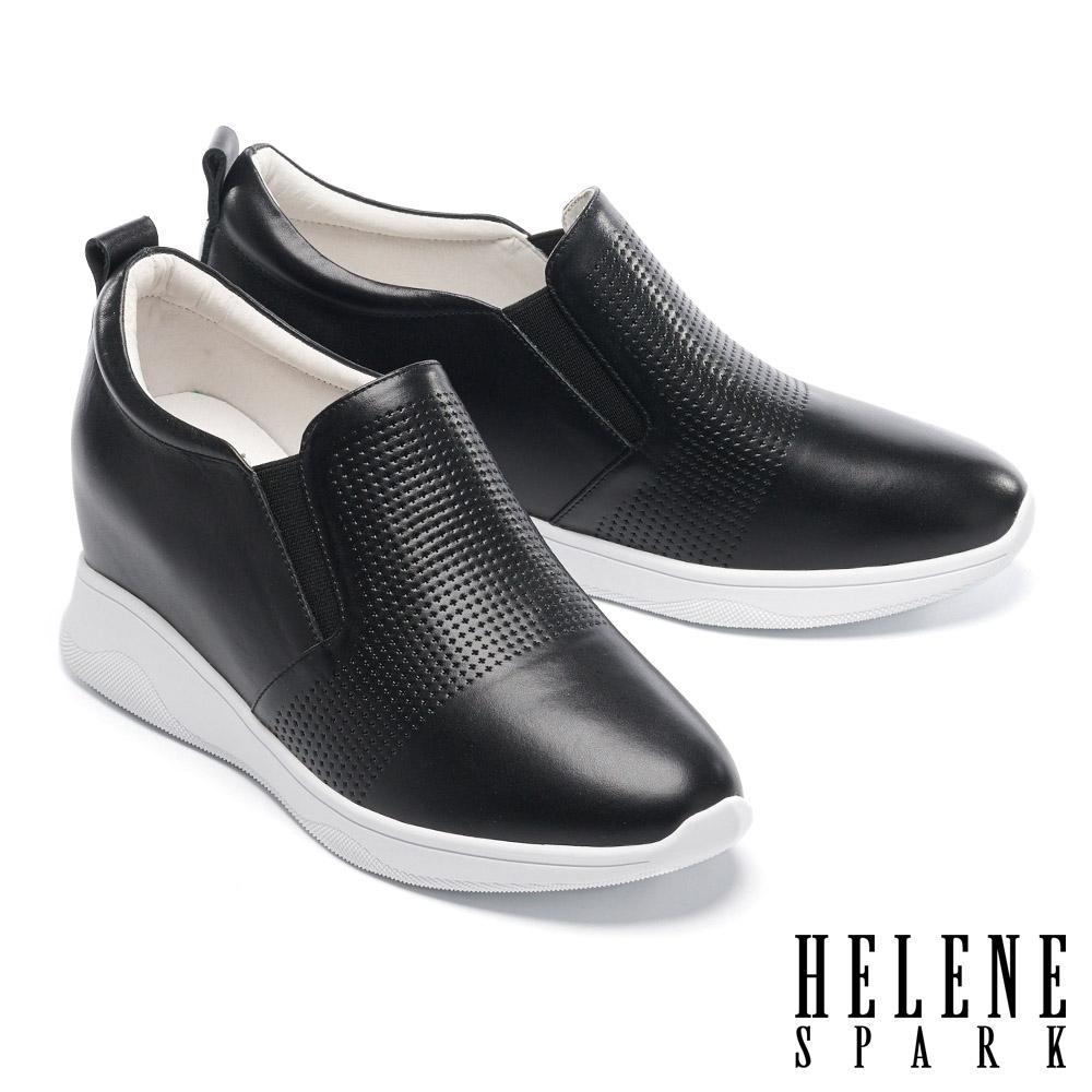 休閒鞋 HELENE SPARK 簡約率性沖孔全真皮內增高休閒鞋-黑