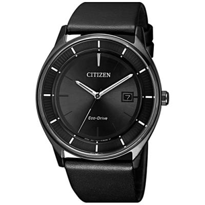 CITIZEN 星辰 光動能極簡潮流黑時尚男錶(BM7405-19E)-黑/40mm