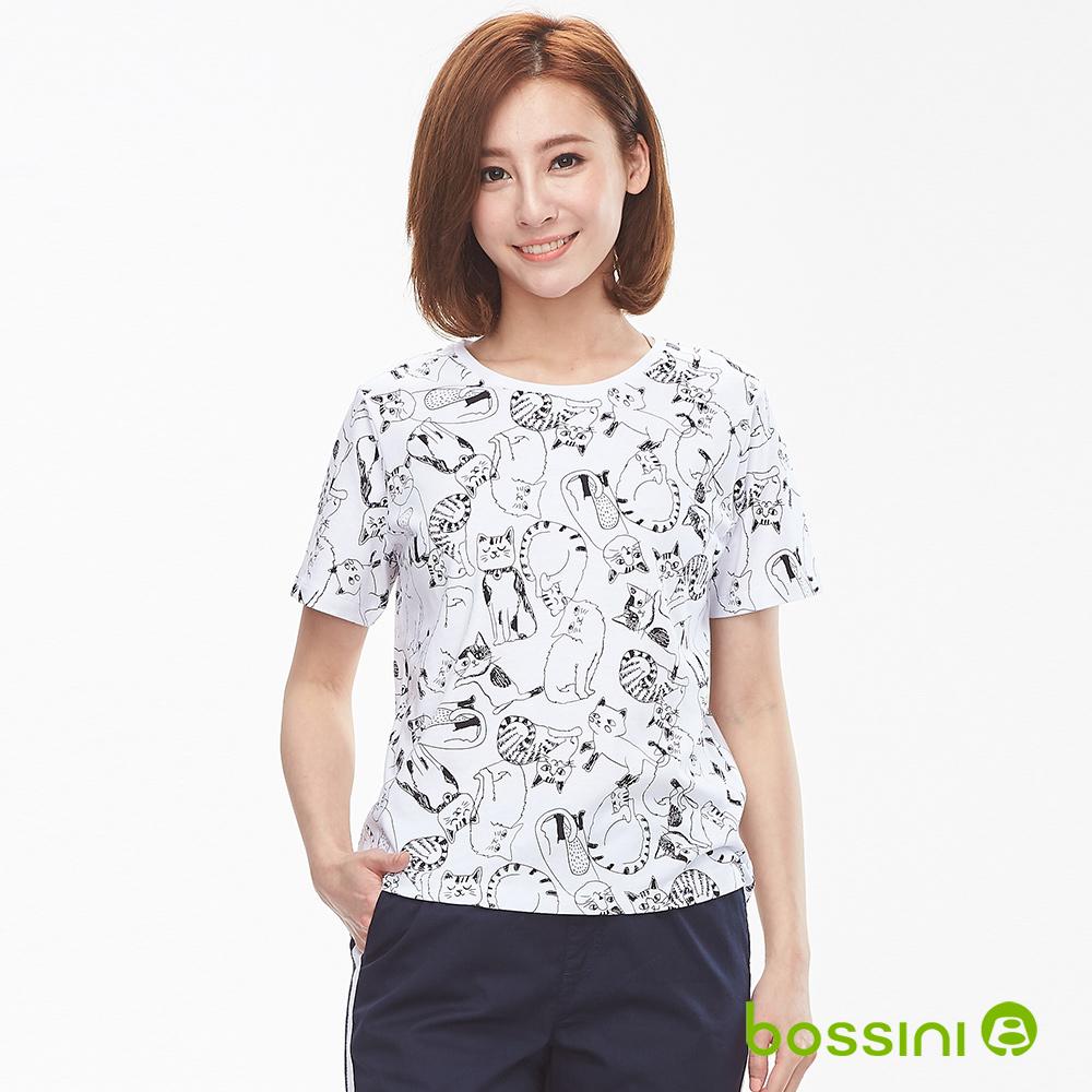 bossini女裝-圓領短袖印花上衣-貓咪白