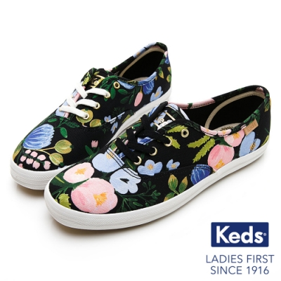 Keds x Rifle Paper CHAMPION 繽紛花卉帆布鞋-黑