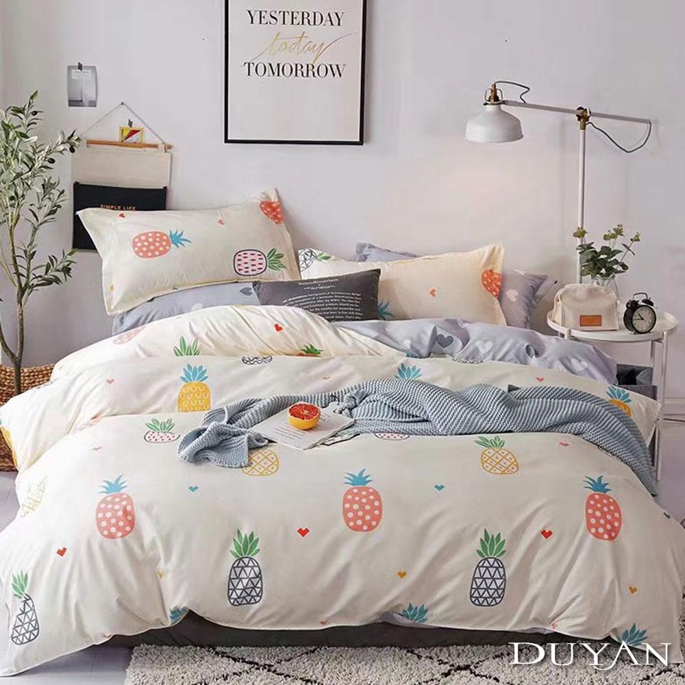 DUYAN竹漾 MIT 天絲絨-雙人床包兩用被套四件組-鳳梨派