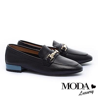 低跟鞋 MODA Luxury 經典不敗時尚金屬飾釦全真皮樂福低跟鞋-黑