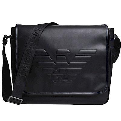 EMPORIO ARMANI 老鷹字樣圖騰仿皮材質大型翻蓋斜背包(黑)