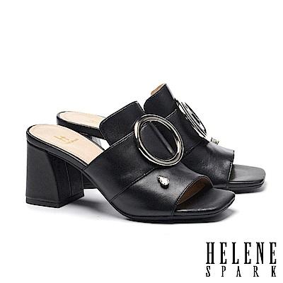 拖鞋 HELENE SPARK 金屬圓釦水滴鑽飾全真皮高跟拖鞋-黑
