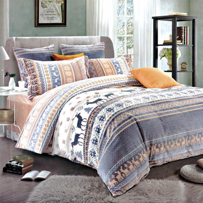 羽織美 北歐之境 雕花水晶絨加大鋪棉床包被套組