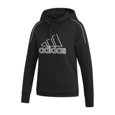 adidas 帽T MH Hood Sweatshirt 女款 愛迪達 連帽上衣 基本款 穿搭 黑 白 GM1423