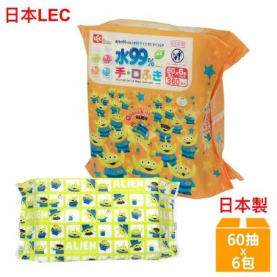 日本LEC 迪士尼三眼怪-口手專用純水99%濕紙巾-60抽x6包/組