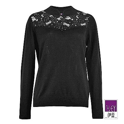 ILEY伊蕾 旗袍領造型蕾絲拼接羊毛混紡針織上衣(黑)