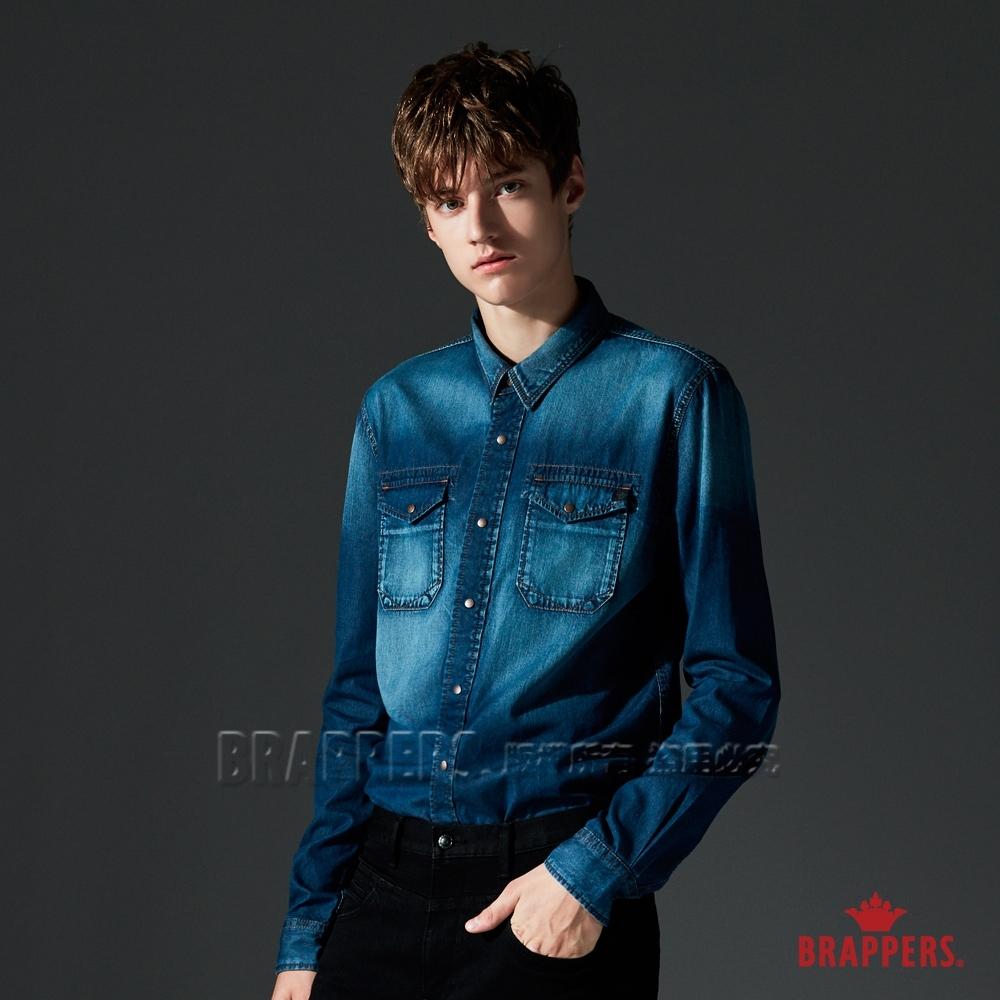 BRAPPERS 男款 牛仔全棉長袖襯衫-藍