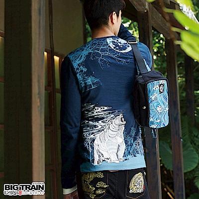 BIG TRAIN 闇月熊霸羅紋束口長袖T-男-暗藍