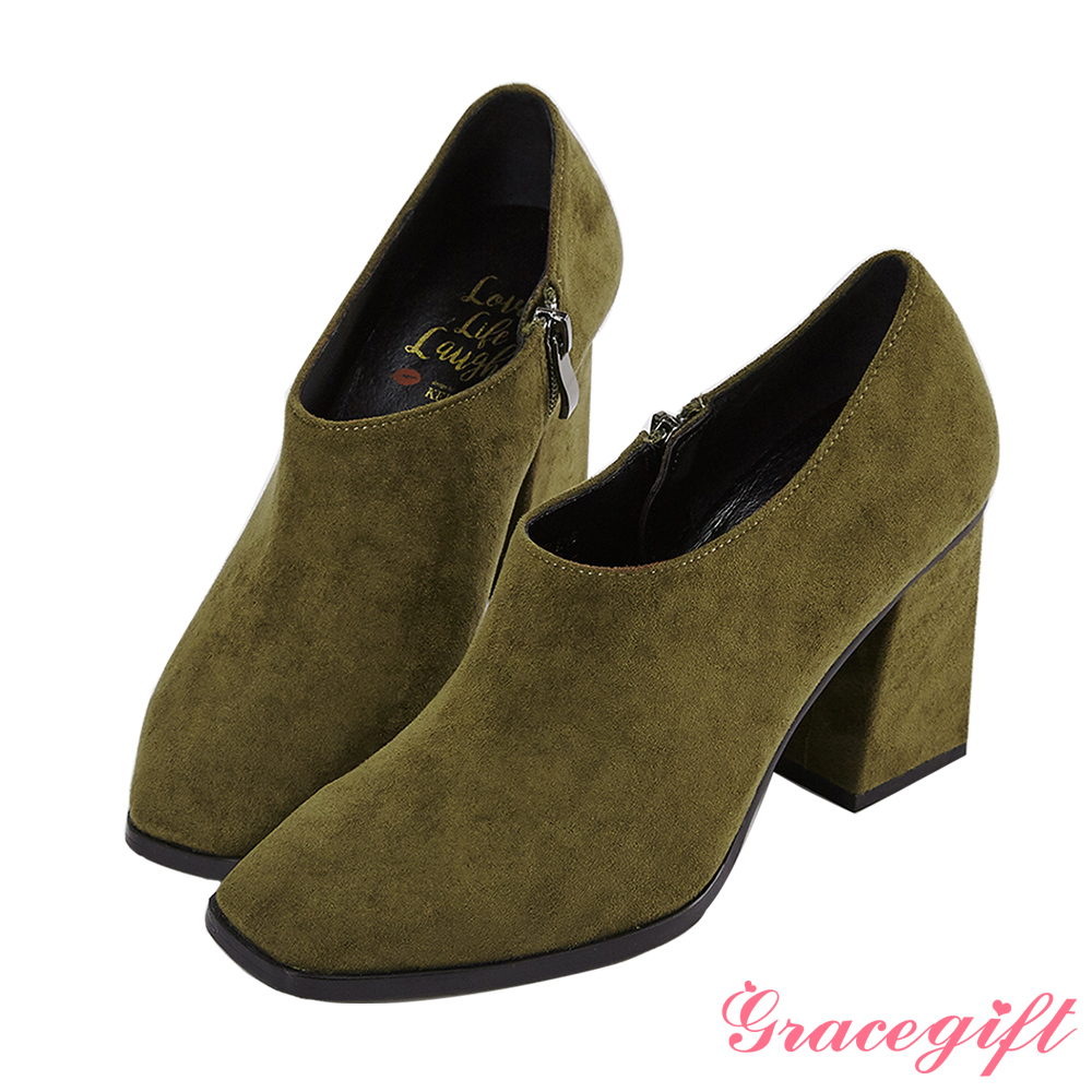 Grace gift X Kerina妞妞-方頭設計感踝靴 軍綠