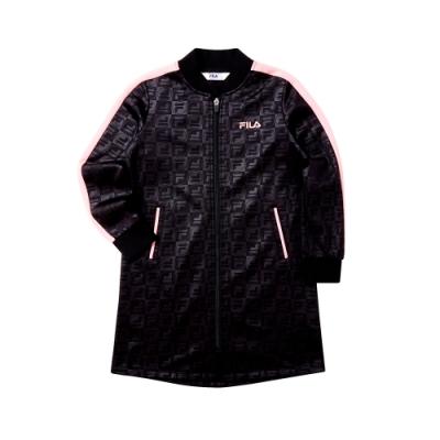 FILA KIDS 女童針織長版外套-黑 5JKT-8413-BK