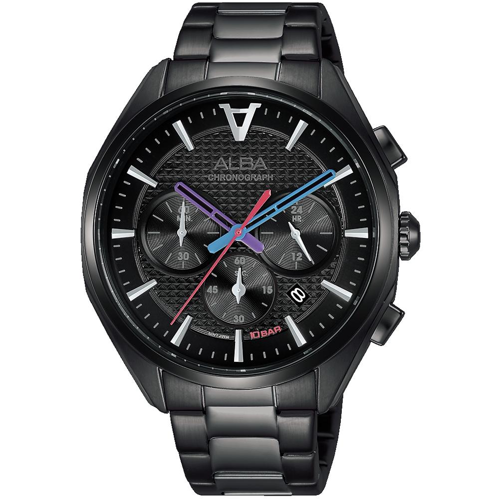 ALBA雅柏 東京賽車三眼計時手錶(AT3G99X1)-黑/42mm