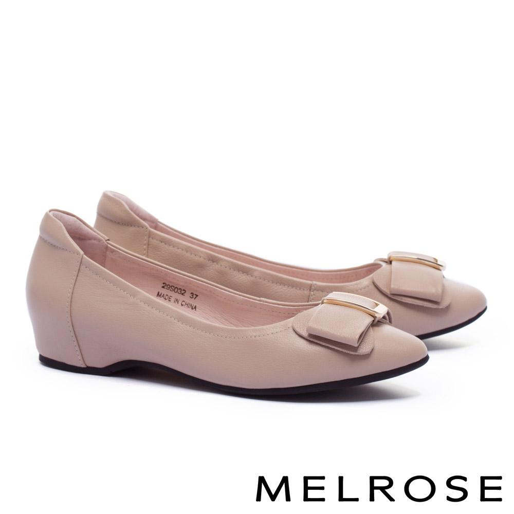 低跟鞋 MELROSE 淡雅氣質蝴蝶結金屬飾釦全真皮內增高低跟鞋-粉