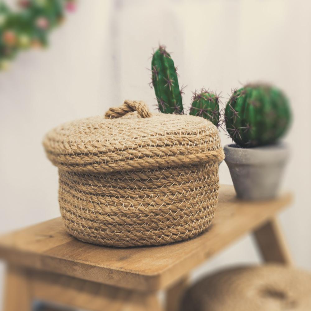 【收納職人】日式黃麻編織圓形加蓋收納籃(小)