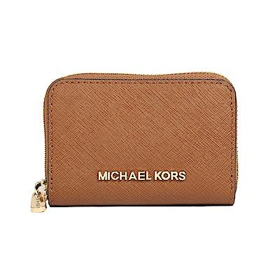 Michael Kors 防刮皮革金字拉鍊零錢包(棕色)