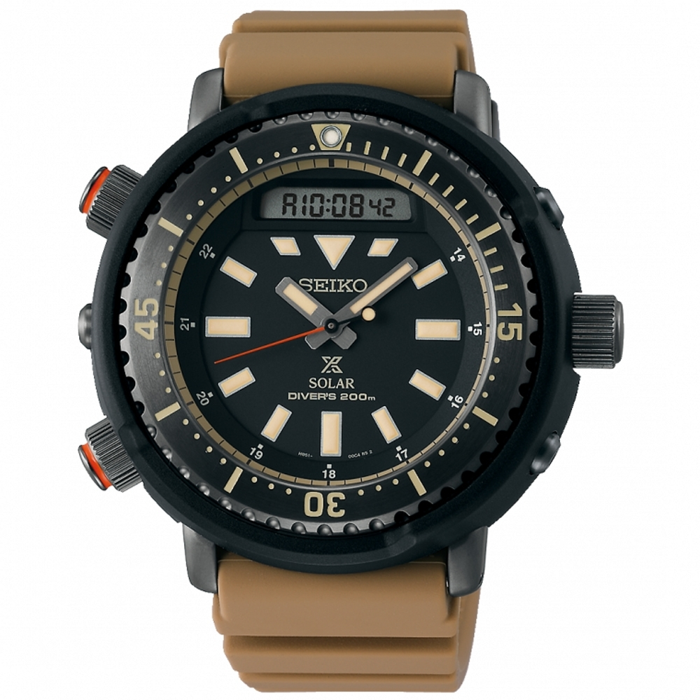 SEIKO精工 Prospex阿諾雙顯小鮪魚罐頭太陽能潛水錶(SNJ029P1)-卡其x黑/47.8mm