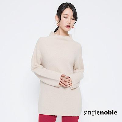 獨身貴族 極簡主義高領長版羊毛針織衫(2色)