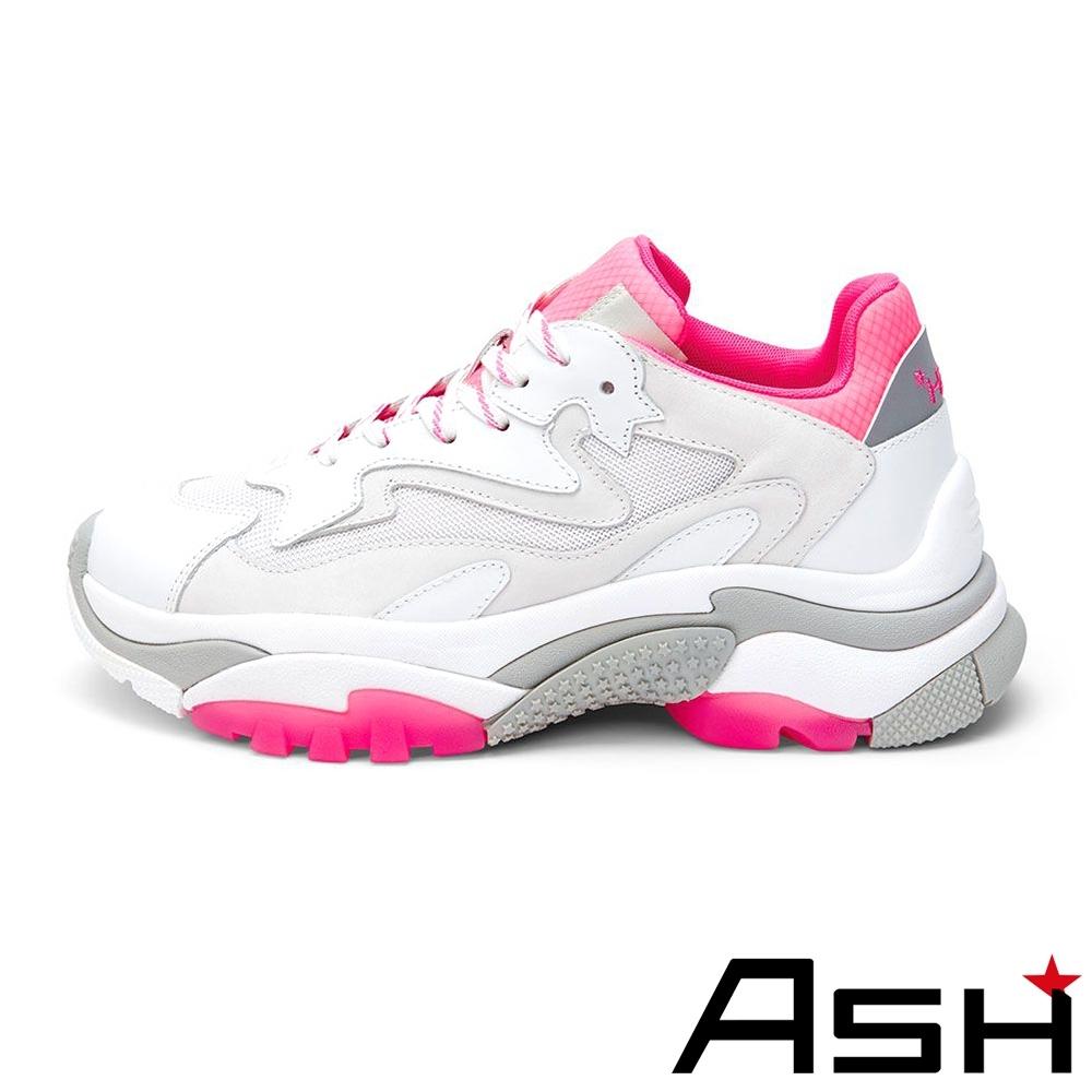 ASH-ADDICT系列潮流休閒運動拼色增高老爹鞋-灰玫紅