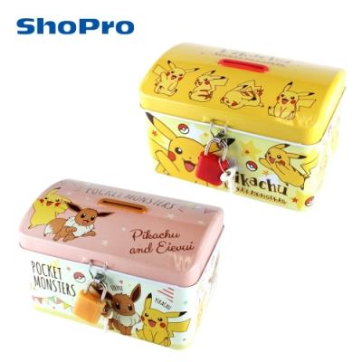 日本正版 寶可夢 鐵盒 存錢筒 小費盒 收納盒 皮卡丘 伊布 神奇寶貝