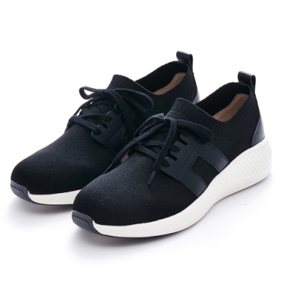 G.Ms. MIT極輕量-針織拼接牛皮綁帶休閒鞋-黑色
