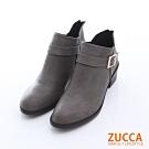 ZUCCA 扣環V領後拉鍊低跟靴-灰色-z6515gy