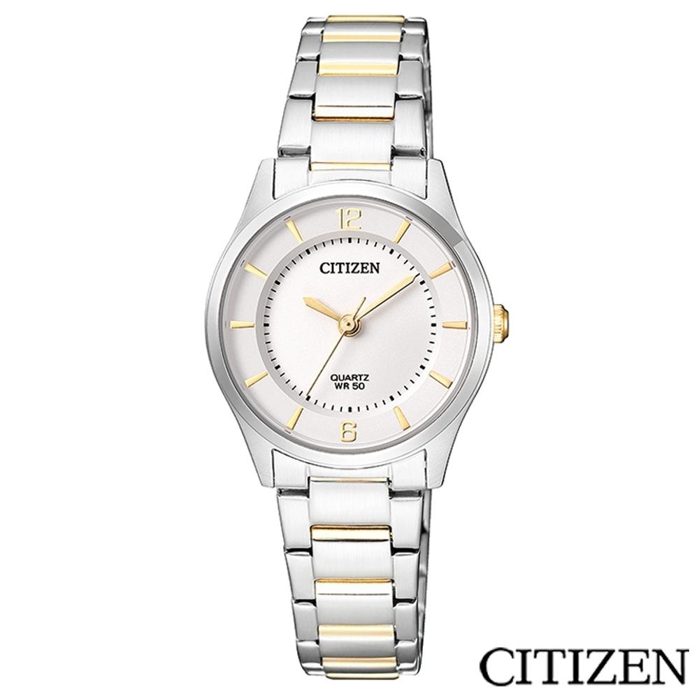 CITIZEN星辰 雅典娜金色指針簡約氣質女仕手錶-ER0201-72A